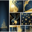 Merry Christmas and Happy New Year collection gold and blue — Stock Vector
