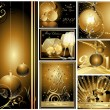 Royalty-Free Stock Vector Image: Gold Merry Christmas and Happy New Year collection