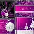 Merry Christmas and Happy New Year collection silver and violet — Stock Vector