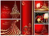 Prettige kerstdagen en gelukkig nieuwjaar collectie goud en rood — Stockvector