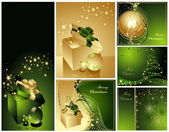 Merry Christmas and Happy New Year collection gold and green — Stock Vector