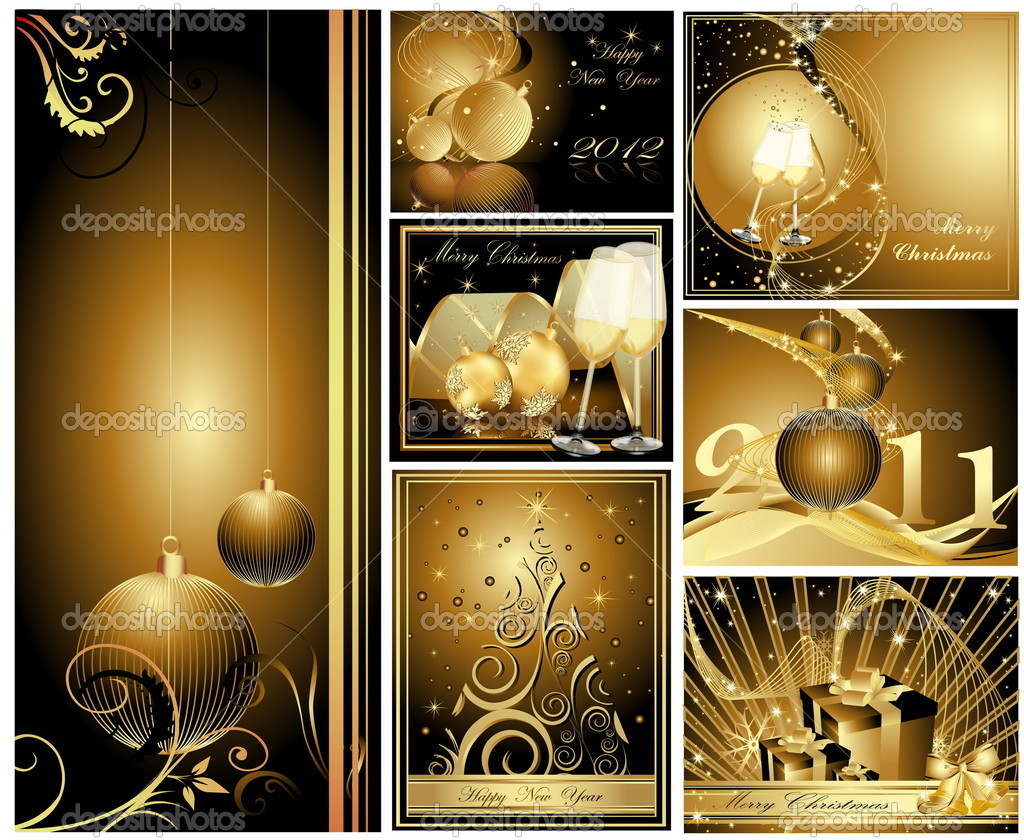 Gold Merry Christmas and Happy New Year collection   Stock Vector #7263536