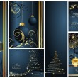 Merry Christmas and Happy New Year collection gold and blue — Stock Vector #7343852