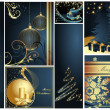 Stock Vector: Merry Christmas and Happy New Year collection gold and blue