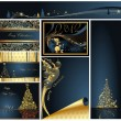 Merry Christmas and Happy New Year collection gold and blue - Stok Vektr