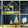 Merry Christmas and Happy New Year collection gold and blue — Stock Vector #7697240