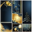 Merry Christmas and Happy New Year collection gold and blue — Stock Vector #7697379