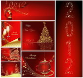Merry Christmas and Happy New Year collection gold and red — Stock Vector