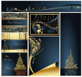 Merry Christmas and Happy New Year collection gold and blue — Vetor de Stock