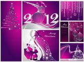 Neşeli noel ve mutlu yeni yıl koleksiyonu gümüş ve menekşe — Stok Vektör