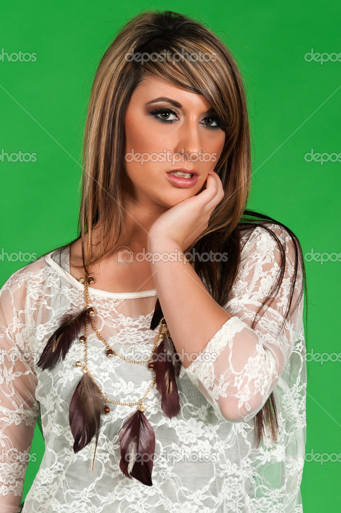 Pretty young brunette in a white blouse — Stock Photo #7798561