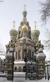 View of the Cathedral of the Savior on the Blood of the Mikhailovsky garden. Saint-Petersburg — Stock Photo
