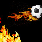 Soccer ball on fire — Stock Photo