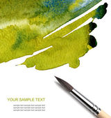 Abstract watercolor painted background with brush — Stock Photo