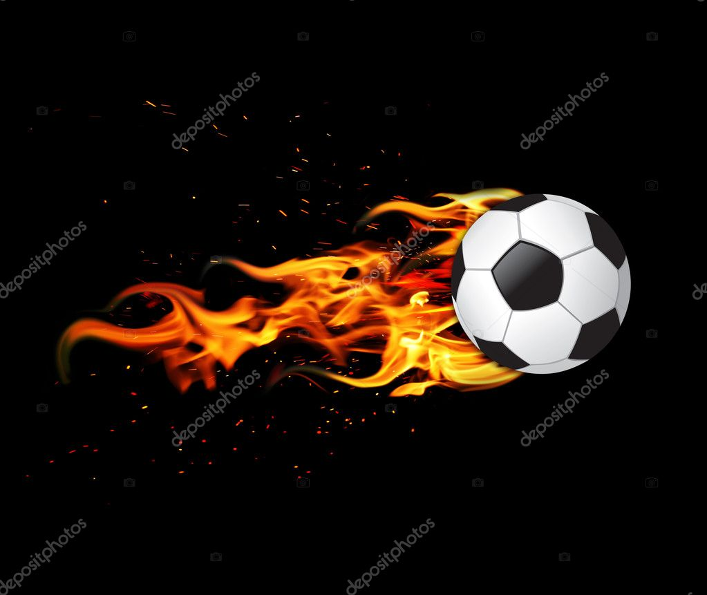 Soccer ball on fire  Stock Photo #7266790