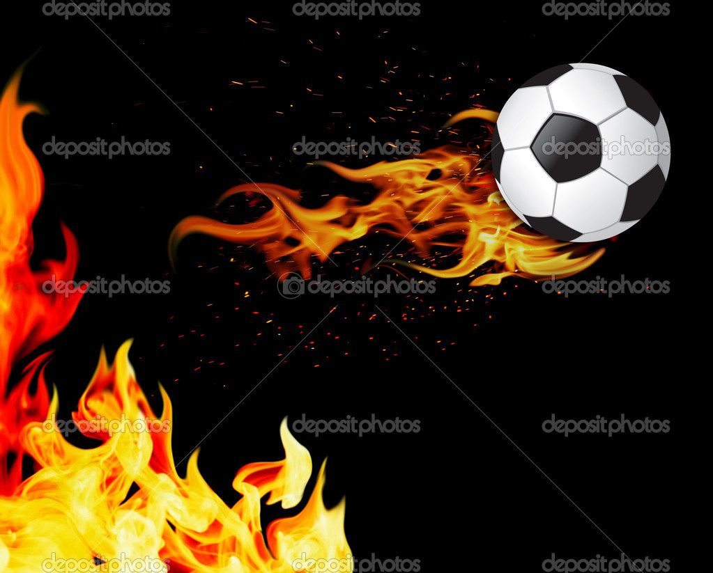 Soccer ball on fire — Stock Photo #7266852