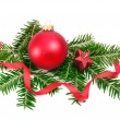 Christmas ball and spruce branch — Stock Photo #7591260