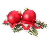 Christmas ball and spruce branch — Stock Photo