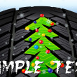 Christmas Tree on the Tire Tread — Stock Vector