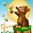 Bee and bear - Stock Vector