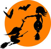 Witch and bat — Stock Vector