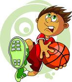 Kid avec le ballon — Vecteur