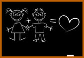 Blackboard love — Stockvector