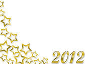 Happy New Year 2012 and golden stars — Foto de Stock
