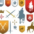 Colour medieval, mediaeval icons and emblems - Stock Vector