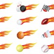 Sports balls of many types on fire with flames — Stock Vector