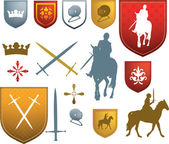 Colour medieval, mediaeval icons and emblems — Stock Vector