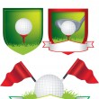 Set of golf shields and designs — Stock Vector