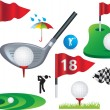 Set of full colour golf icons and designs - Stock Vector