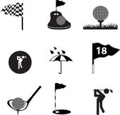 Golf icon set on black — Stock Vector