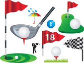 Set of full colour golf icons and designs — Stock Vector