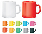 Selection of cups or mugs in different colours — Stock Vector