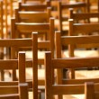 Chairs in a church - Stock Photo