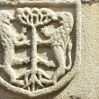 Medieval blazon in old door,Portugal. - Stockfoto