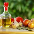 Oliveoil, vinegar and vegetables. — Stock Photo #7127944