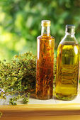 Olive oil,vinegar, and oregano herb. — Stock Photo