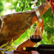 Jamon of spain and red wine. — Stock Photo #7285734