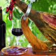 Jamon of spain and red wine. - Stock Photo
