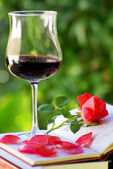 Glass of red wine on books. — Stock Photo
