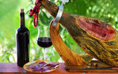 Jamon of spain and red wine. — Stock Photo