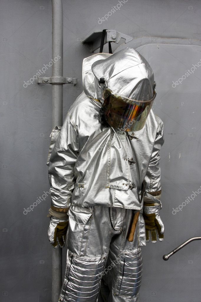 U.s. navy fire fighting  aircraft rescue suit — Stock Photo #6848160