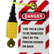 Electrical cord lock out tag — Stock Photo