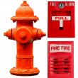 Fire hydrant, pull station and alarm collage — Stock Photo