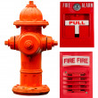 Fire hydrant, pull station and alarm collage — Stock Photo #7089009