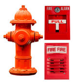 Fire hydrant, pull station and alarm collage — 图库照片