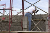 Building a brick wall — Stock Photo